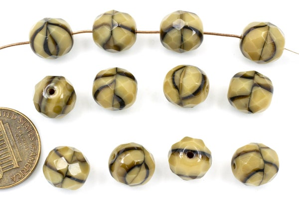 Czech Glass Faceted Round, Coffee Swirl, 10mm