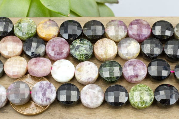 Tourmaline Faceted Coin, 10mm