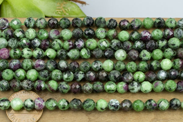 Ruby Zoisite Faceted Round, 6mm