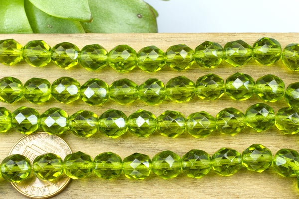Czech Glass Faceted Olivine Round, 8mm