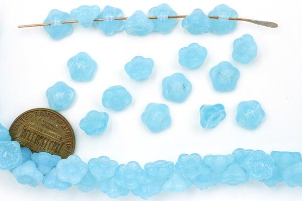 Czech Glass Button Flower, Blue Opal, 8x5mm