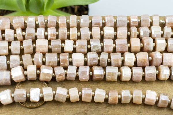 Indian-Cut Coated Peach Moonstone Faceted Heishi, ~8x5mm
