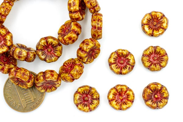 Czech Glass Hibiscus Flower, Red Picasso, 12mm