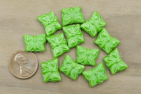 Czech Glass Pressed Butterfly, Green, 15x11mm