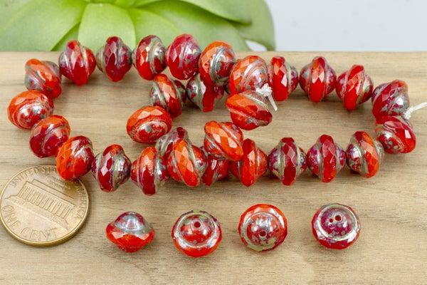 Czech Glass Saturn Beads, Reds Mix, 10x8mm