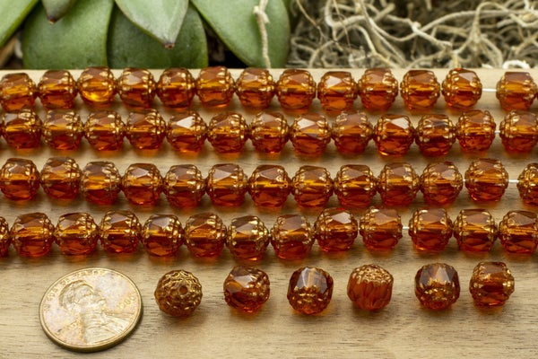 Czech Glass Cathedral, Amber Bronze, 8mm