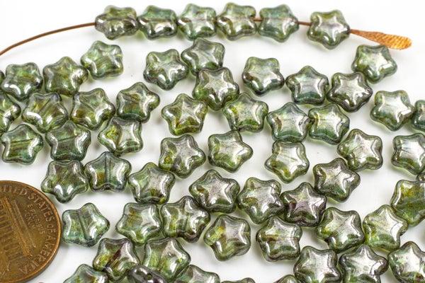 Czech Glass Pressed Star, Deep Green Luster, 8mm