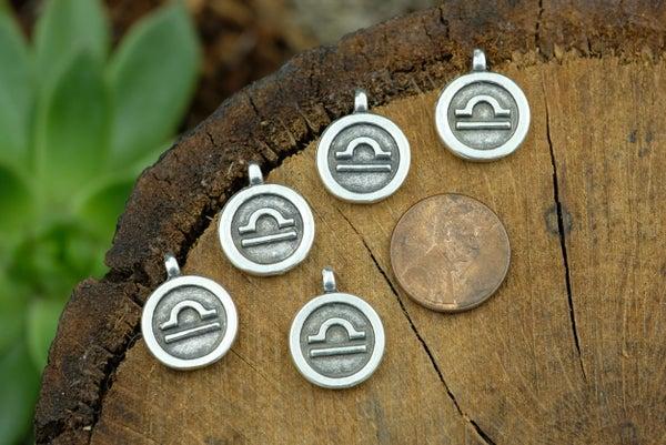 Zodiac Charm, Libra, Antiqued Fine Silver Plate