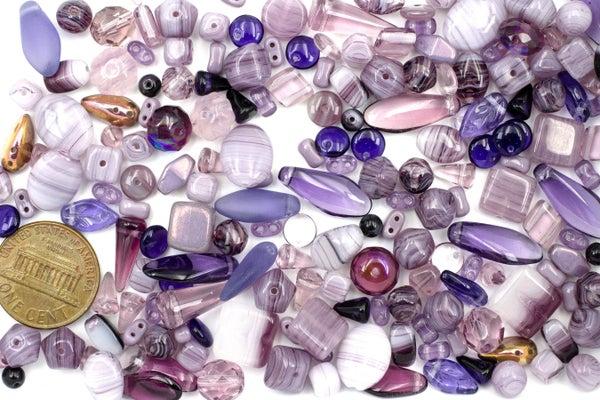 Premium Czech Glass Bead Mix, Light Purple