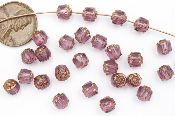 Czech Glass Cathedral, Bronze Amethyst, 6mm