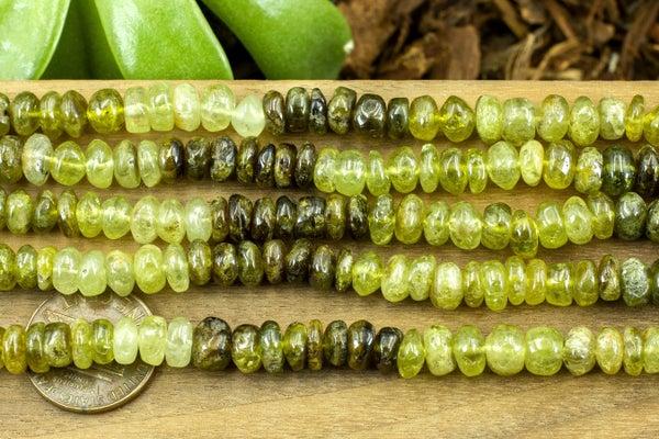Indian-Cut Green Garnet Smooth Rondelle, ~7x4mm