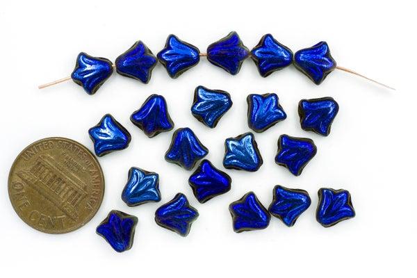 Czech Glass Lily, Black Blue Vitrail, 8.5mm