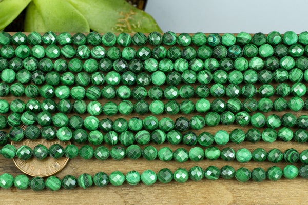Malachite Faceted Round, 4.7mm