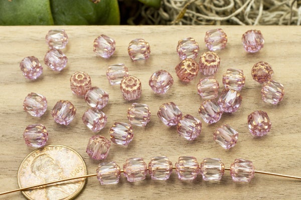 Czech Glass Cathedral, Pink Crystal, 6mm