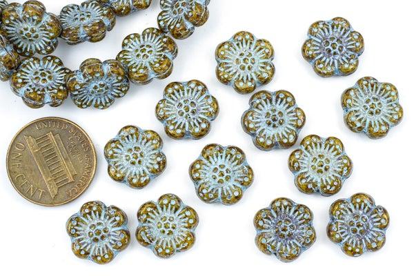 Czech Glass Camellia, Picasso Blue Wash, 13mm