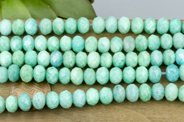Amazonite Faceted Rondelle, 8x6mm