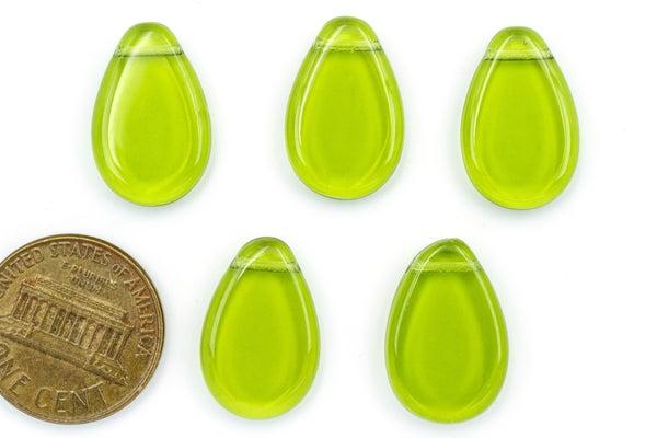 Czech Glass Pressed Flat Pear Brio, Olive, 18x12mm