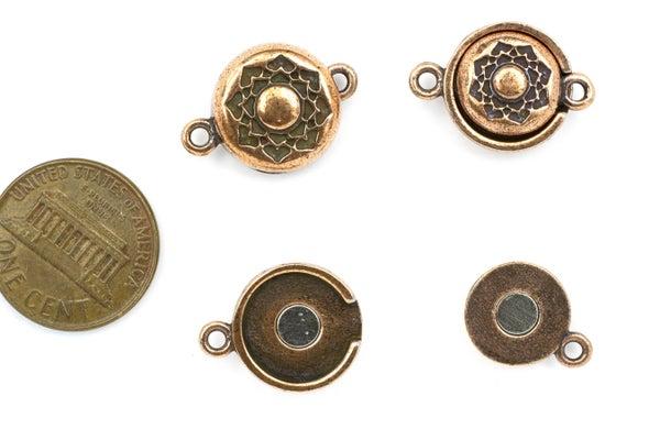 TierraCast Lotus Magnetic Clasp Set, Antiqued Copper Plate, 14mm