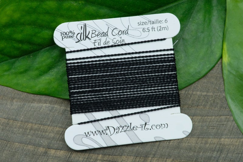 Silk Knotting Cord with Needle Attached, Size 6, Black