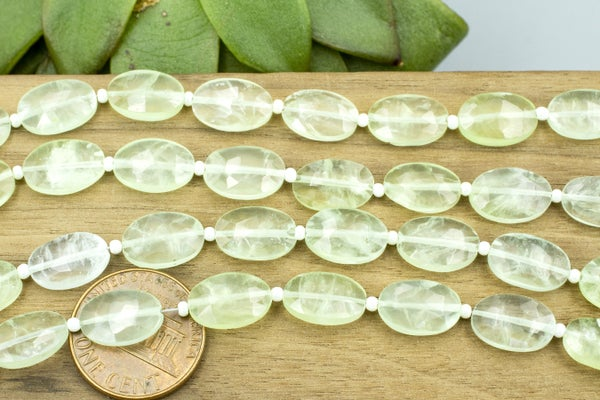 Indian-Cut Faceted Prehnite Oval, 12x8mm