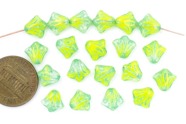 Czech Glass Lily, Bright Lime Mix, 8.5mm