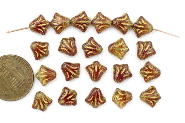 Czech Glass Lily, Carnelian/Gold, 8.5mm