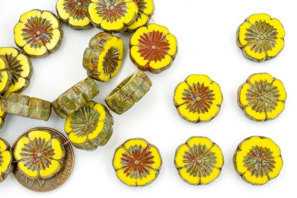 Czech Glass Hibiscus Flower, Sunflower, 14mm