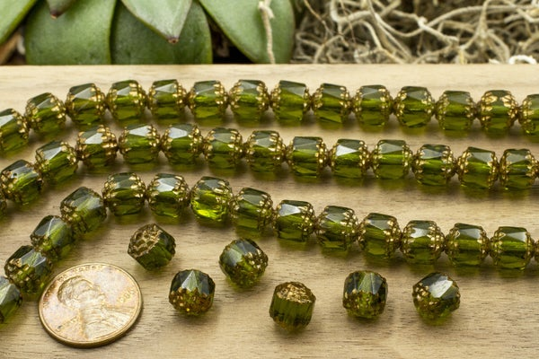 Czech Glass Cathedral, Bronze Olive, 8mm