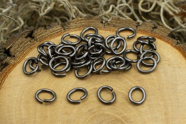 TierraCast Oval Jump Ring, 17 Gauge, Black Plate, 5x3.5mm Inside