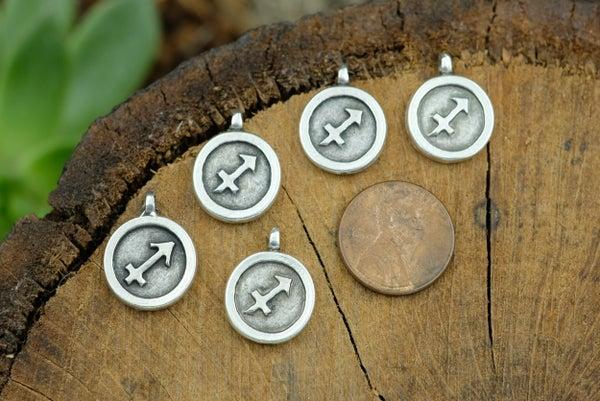 Zodiac Charm, Sagittarius, Antiqued Fine Silver Plate