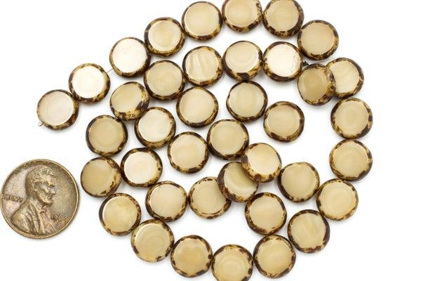 Czech Glass Tablecut Coin, Coffee Mix, 10mm