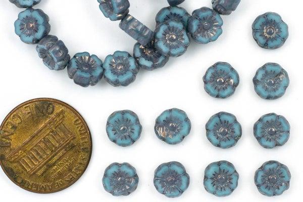 Czech Glass Accent Flower, Turkish Blue, 7mm