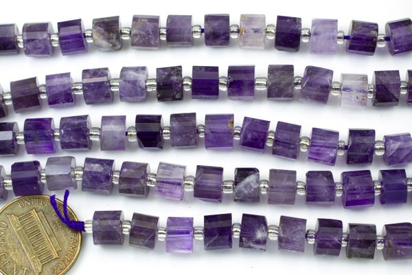 Amethyst Faceted Tube, 7x5mm