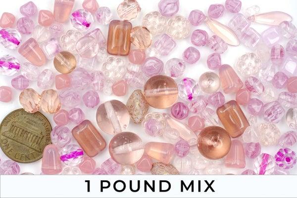 Premium Czech Glass Bead Mix, Pink