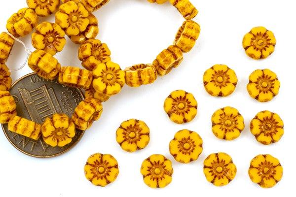 Czech Glass Accent Flower, Sunflower, 7mm