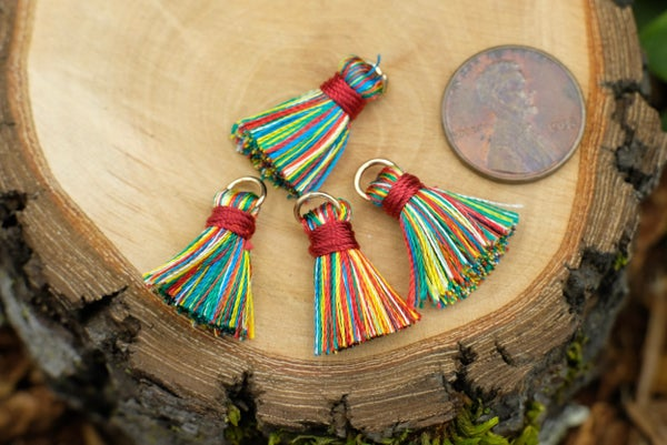 Multi-color Tassels on Gold Jump Ring, ~21mm