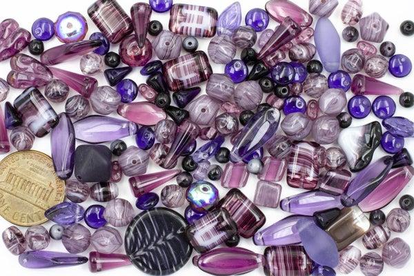 Premium Czech Glass Bead Mix, Dark Purple
