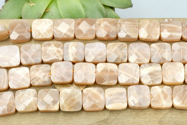 Peach Moonstone Faceted Square, 12mm