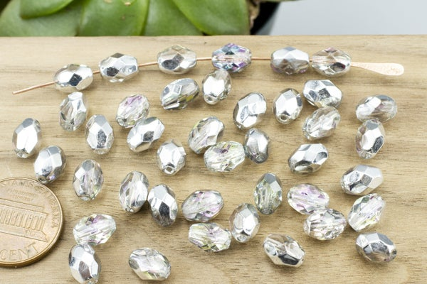 Czech Glass Vitrail Faceted Oval, 8x5mm