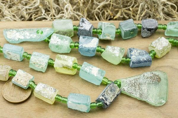 Ancient Roman Glass Freeform Rectangle w/ Freeform Pendant, ~13x9mm