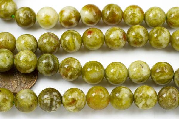 Olive Serpentine Smooth Round, 10mm