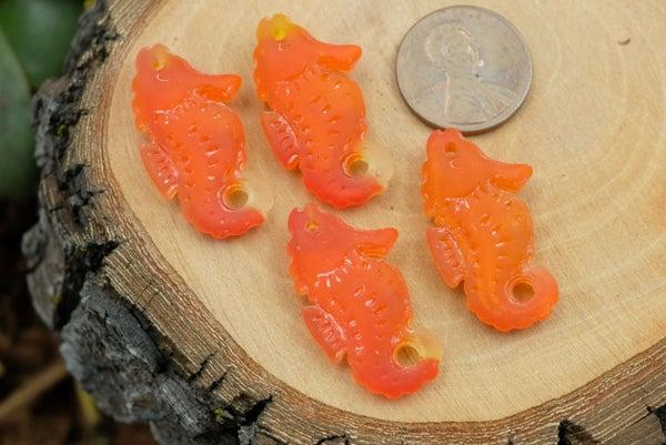 Cultured Sea Glass Seahorse, Orange Mix, 26x16mm
