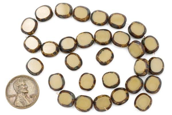 Czech Glass Tablecut Oval, Camel Mix, 10x9mm