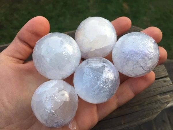 Selenite spheres, about 40mm, $5 each (random pick)