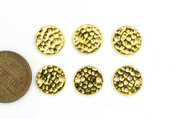 TierraCast Hammertone Round Link, Gold Plate, 11x11mm