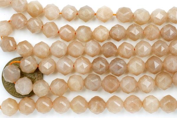 Peach Moonstone Micro-Faceted Starcut, 8mm