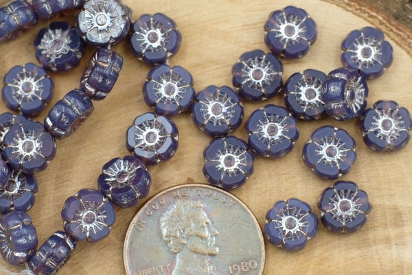 Czech Glass Accent Flower, Purple Opal, 7mm