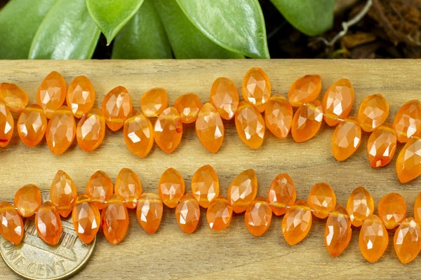 Indian-Cut Carnelian Semi-Regular Marquise Brios, Occasional imperfections, ~9x5mm