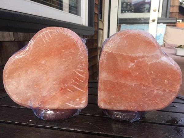 "Himalyan Salt Heart Lamps, 6.5"" Tall, $45 including bulb + $12 shipping, 2 Available (random pick)"