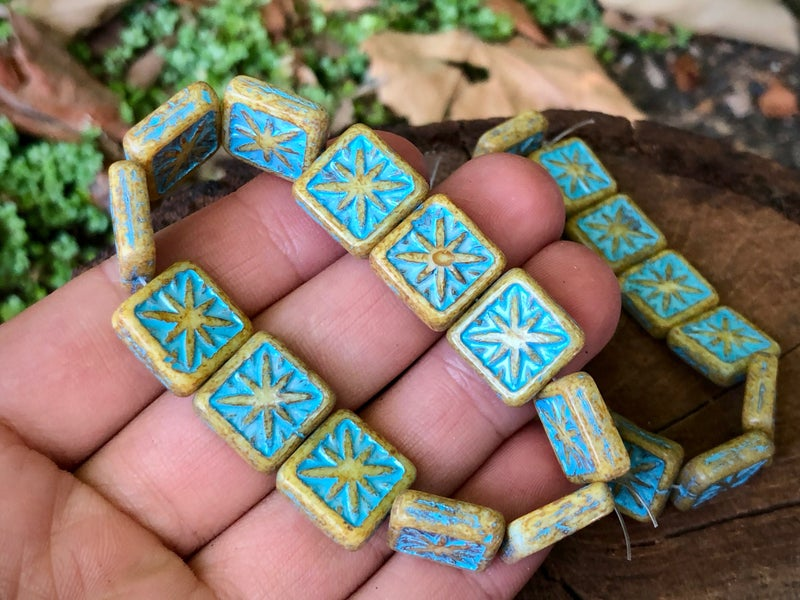 Czech Glass Compass Square, Picasso Turquoise Wash, 14mm